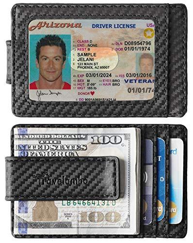 - Travelambo Money Clip Front Pocket Wallet Slim Minimalist Wallet RFID Blocking (Type B carbon fiber black)