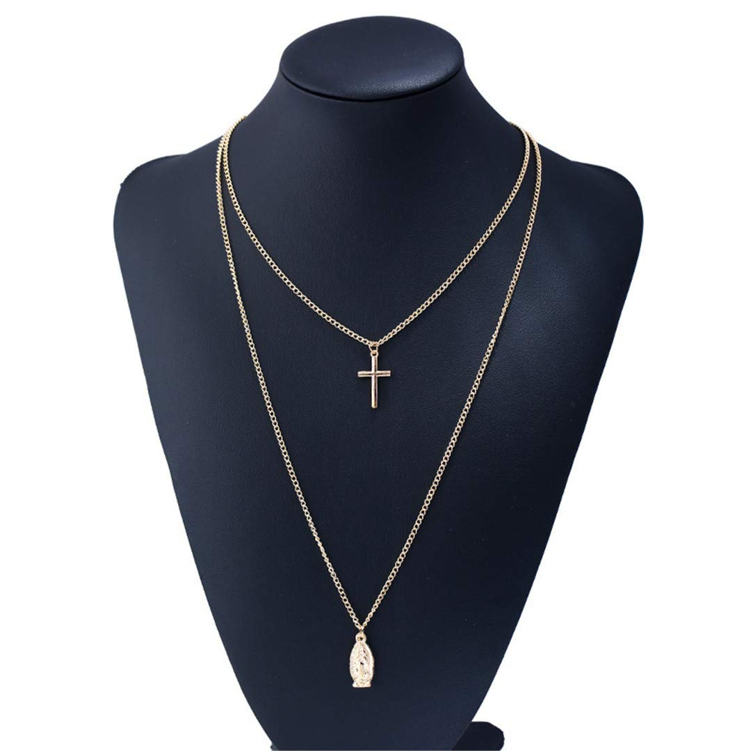 FIANDHJS Beautiful Chain Chokers Fashion Collares Pendants/&Necklaces Multilayer Gold-Color Corss Woman Accessories