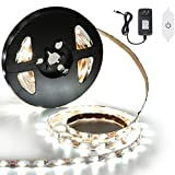 LED Strip Lights White, SOLMORE Dimmable LED Light Strip Kit with Power Supply 240LEDs 4m/13ft Waterproof Strip Lights LED Rope Lights Tape Light for Kitchen Under Cabinet Room Bedroom Wedding