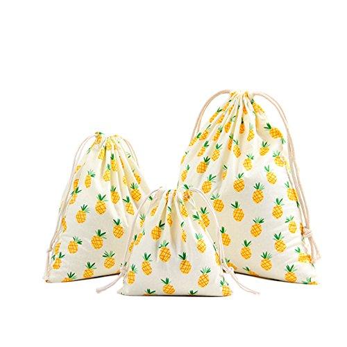 3xDa.Wa Sac à cordon de serrage Sac à réception en coton Sac à cordon d'impression motif ananas Bouquet cordon (MIX)