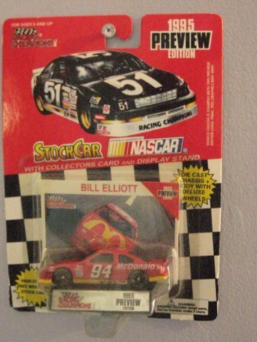 Racing Champions Bill Elliott #94 Stock Car with collectors card 1/64 scale diecast 1995 Preview Edition (Bill Champions Racing)