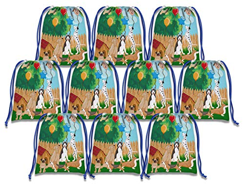 Party Pups Treat Bags - Puppy Dog Party Pups Drawstring Bags Kids Birthday Party Supplies Favor Bags 10 Pack