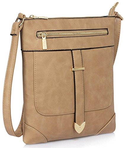 Ladies Cross Body Bags Womens Messenger Shoulder Luxury New Crossbody Designer With Front Zip Design 1 - Taupe