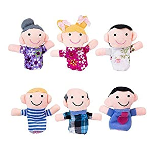 Mini Grandparents, Mom & Dad, Brother & Sister Family Style Finger Puppets for Children, Shows, Playtime, Schools - 6 Piece Set by Super Z Outlet by Super Z Outlet®