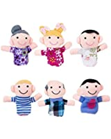 Mini Grandparents, Mom & Dad, Brother & Sister Family Style Finger Puppets for Children, Shows, Playtime, Schools - 6 Piece Set by Super Z Outlet®