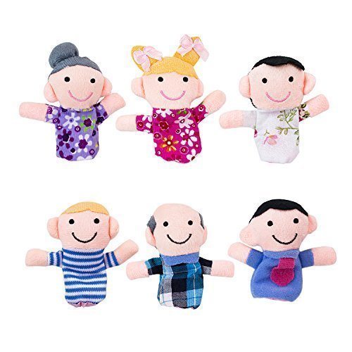 - Super Z Outlet Mini Grandparents, Mom & Dad, Brother & Sister Family Style Finger Puppets for Children, Shows, Playtime, Schools - 6 Piece