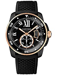 Mens Calibre de Cartier Diver, Black Steel & Rose Gold W2CA0004
