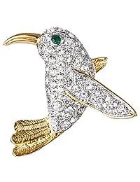 Ever Faith Gold-Tone Austrian Crystal Lovely Baby Hummingbird Brooch Pin Clear N07786-1
