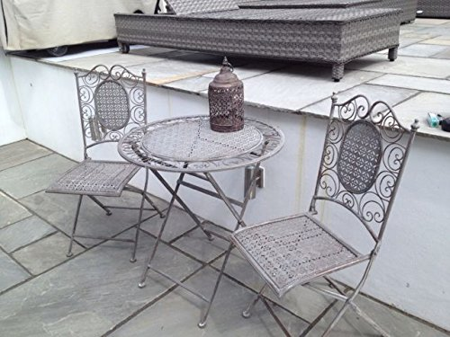 bistro set garden furniture table and chairs shabby chic antique style grey 1 - Garden Furniture Shabby Chic