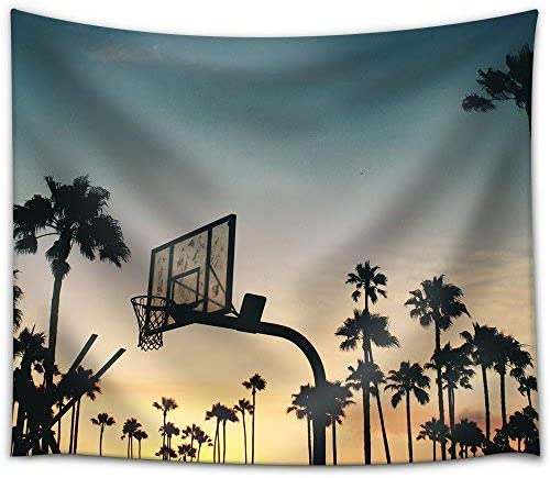 wall26 – Basketball Stands and Palm Trees Under The Sunset – Fabric Wall Tapestry Home Decor – 68×80 inches