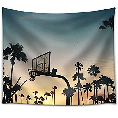 Astonishing Picture, Created Just For You, Basketball Stands and Palm Trees Under The Sunset Fabric Wall