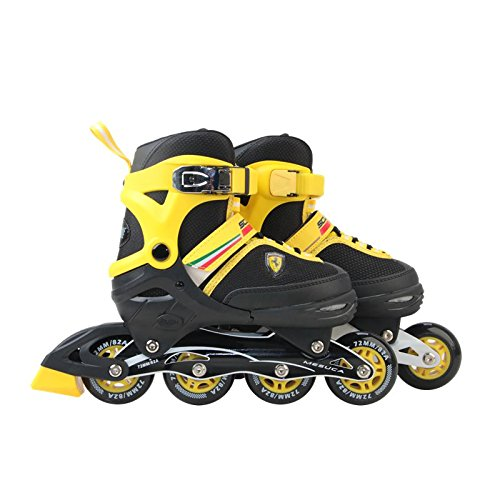 Ferrari Adjustable Inline Skate Roller Skating Shoes Boy Girls Yellow Size S/M/L by Ferrari