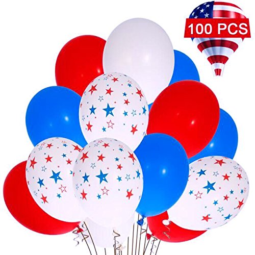 4th of July Balloons Lumiparty Patriotic Balloons Patriotic Decorations Star Latex Balloons Red White Blue Balloons Fourth of July Party Decorations Great For Memorial Day Celebration Party (100 Pack)