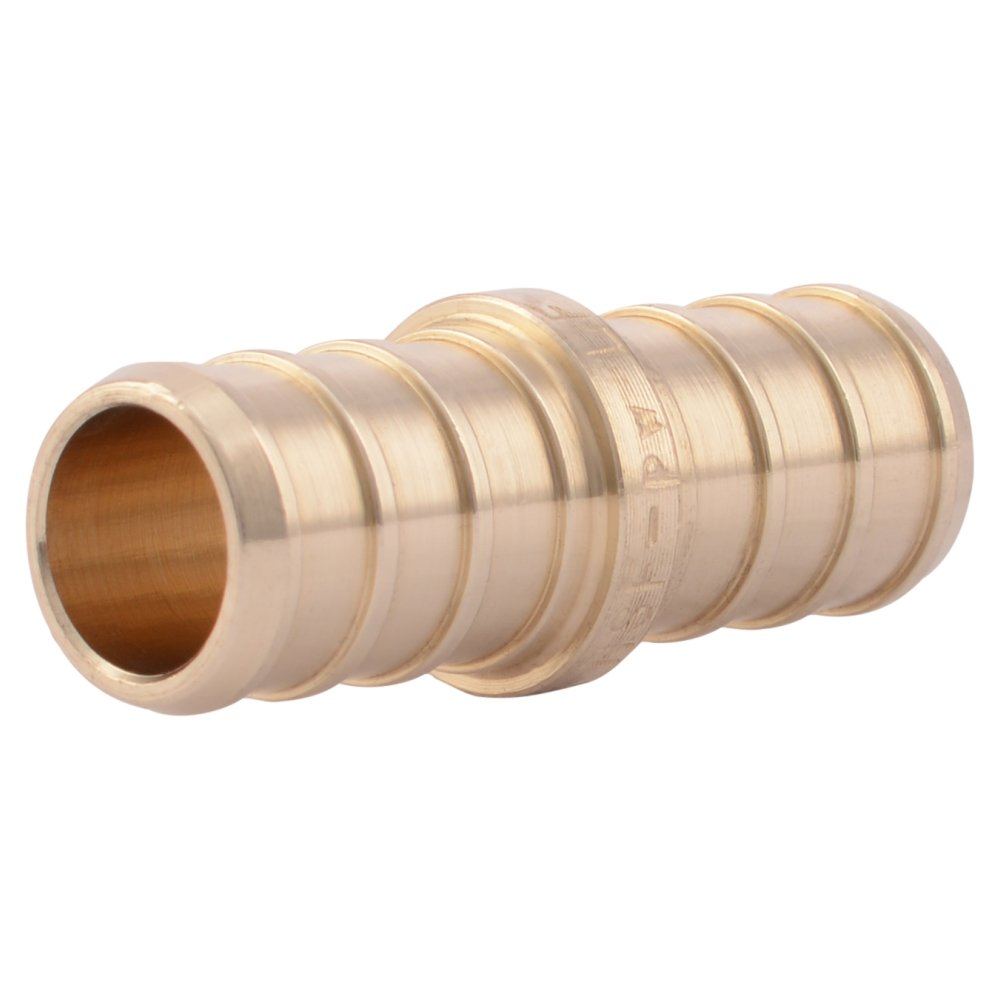 "SharkBite UC008LFA10 1/2"" Coupling PEX Barb Fitting (10-Pack), Brass"