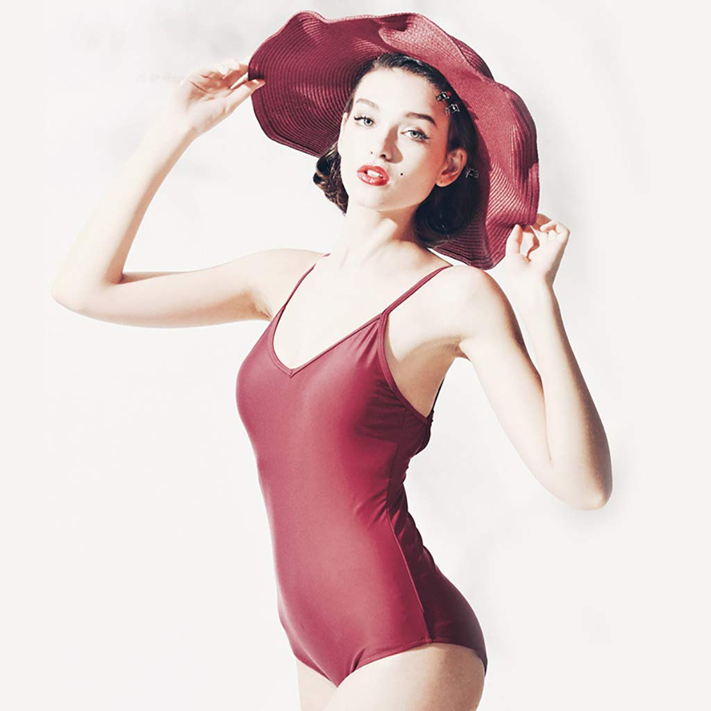RED Slinged Halter Triangle OnePiece Swimsuit Female, Covered Belly Conservative Style (color  Red) (color   RED, Size   L)