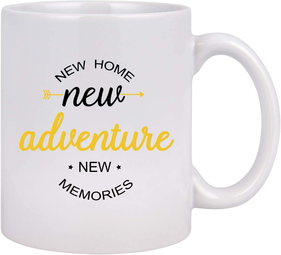 House Warming Gifts - New Home New Adventure New Memories Funny Coffee Mug, New Home Gifts for Friends Parents Relatives Him Her, 11 Oz Ceramic Coffee Mug