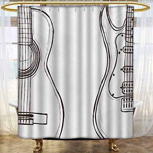 lacencn Guitar,Shower Curtains Digital Printing,Hand Drawn M
