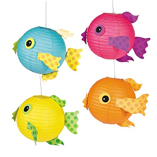 Fun Express Tropical Fish Luau Paper Lanterns (Set of 4) -
