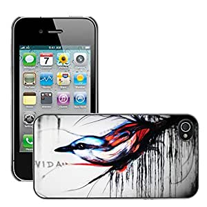 Hot Style Cell Phone PC Hard Case Cover // M00044833 wall bird vida graffiti art // Apple iPhone 4 4S