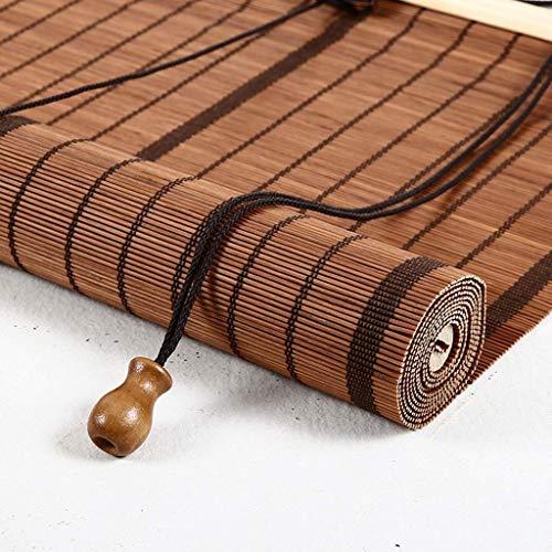 Bamboo Roller Shades with Cord,Roll Up Blinds-Light Filtering for Door,Patio Bedroom Doorway,Door, Balcony ,Teahouse,Outdoor Blackout Blind,Brown ZHANGAIZHEN (Color : Bamboo, Size : 80×140cm)
