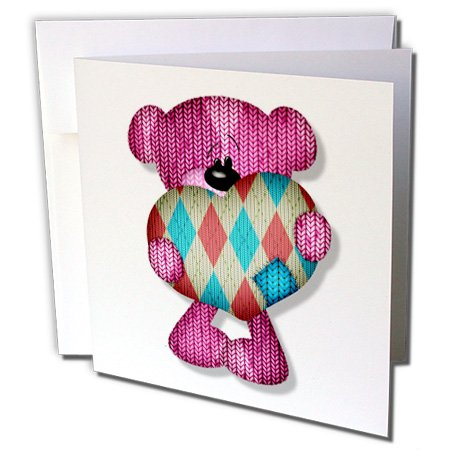 Argyle Roses (Cute Argyle HeartBear - Greeting Card, 6 x 6 inches, single (gc_102681_5))