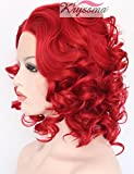 K'ryssma Short Curly Bob Red Synthetic Lace Front Wigs for Women Cosplay Party