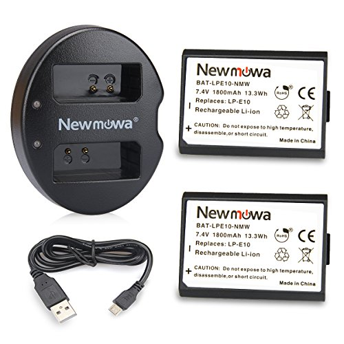 LP-E10 Newmowa Battery (2 pack) and Dual USB Charger for Canon EOS Rebel T3 T5 1100D 1200D Kiss X50