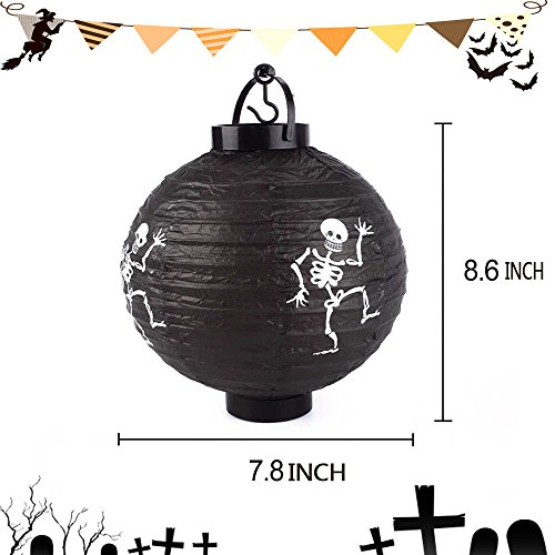 Diy Scarecrow Costume Hat ([Black] New Halloween LED Paper Pumpkin Hanging Lantern DIY Holiday Party Decor Scary)