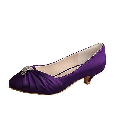 183e8b59cc4d Wedopus MW933 Women s Closed Toe Satin Party Evening Pumps Low Heel Wedding  Bridal Shoes Size 5