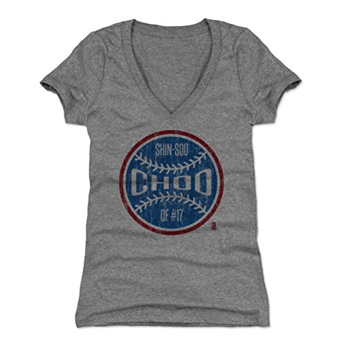 500 LEVEL Shin-Soo Choo Women's V-Neck Shirt XX-Large Tri Gray - Texas Baseball Women's Apparel - Shin-Soo Choo Texas Ball B (Choo Texas Tshirt Rangers)