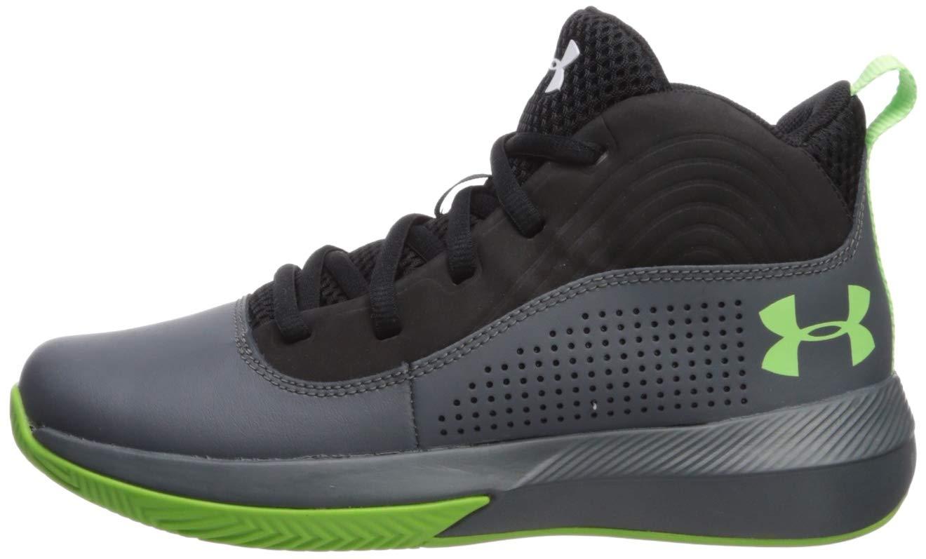 Under Armour Kids' Pre School Lockdown 4 Basketball Shoe, Pitch Gray (100)/Black, 6
