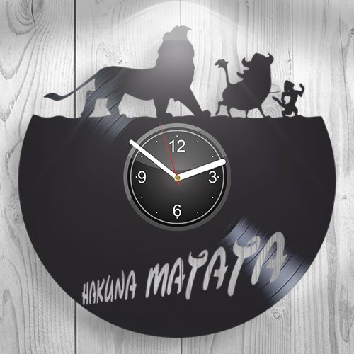 (Hakuna Matata Walt Disney The Lion King Simba Mufasa Gift For Boyfriend Girlfriend Wall Art, New Handmade Vinyl Wall Clock Decor, Office Decoration For Living Room Inspirational, Best Present For Him)