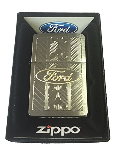 Zippo Custom Lighter - Ford Motors Car Oval Name Logo Laser Engraved Brushed Chrome
