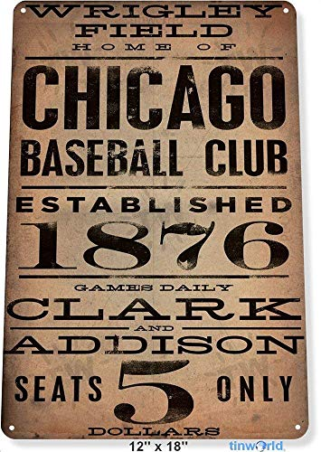 Wadec TIN Sign 7.8 inchx11.8 inch Chicago Wrigley Field Card Metal Decor Art Baseball Shop Store A040