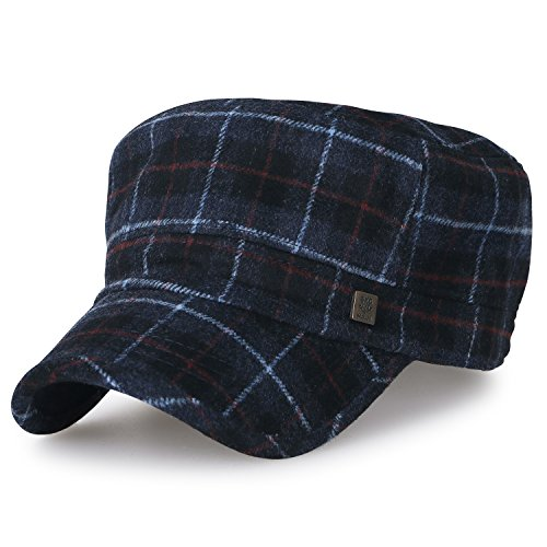 ililily Large Size Tartan Check Military Army Hat Wool-Blend Vintage Cadet Cap, (Plaid Vintage Hat)