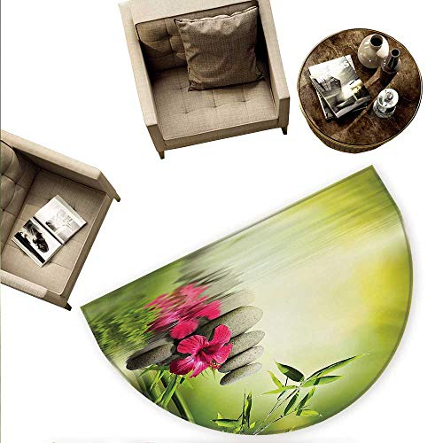 Spa Semicircular Cushion Stones and Bamboo Leaves on The Water Pool Meditation Freshness Relaxing Theme Entry Door Mat H 63