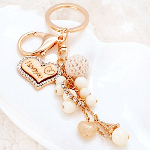 Womens Romantic Heart Keyring Crystal Heart Pendant Keychains Tassel with Pearl & Rhinestone Charm for Couple Gold ()