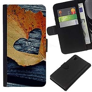 iBinBang / Flip Funda de Cuero Case Cover - Hoja Otoño Negro Amor deeo - Sony Xperia Z1 L39H