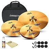 Zildjian Complete Cymbal Set: ZBT 20'' Ride (ZBT20R), ZBT 14'' HiHats (ZBT14HP), ZBT 16'' Medium Crash (ZBT16C), Cymbal Bag, Cleaner and Polish Cloth
