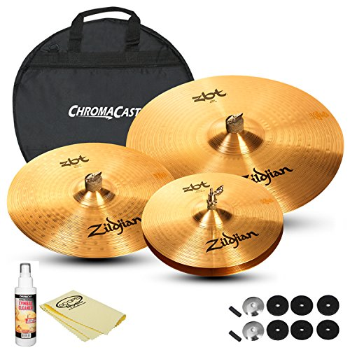 "Zildjian Complete Cymbal Set: ZBT 20"" Ride (ZBT20R), ZBT 14"" HiHats (ZBT14HP), ZBT 16"" Medium Crash (ZBT16C), Cymbal Bag, Cleaner and Polish Cloth"