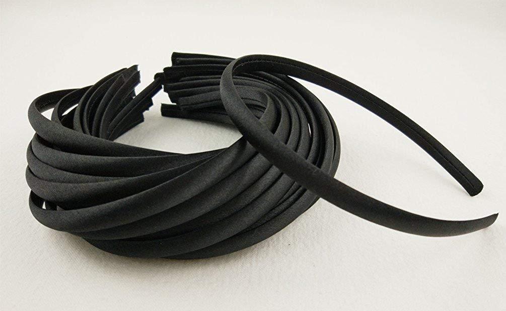 Hixixi 20pcs pack Girls//Women Diy Satin Fabric Covered Ribbon Headbands Hairband