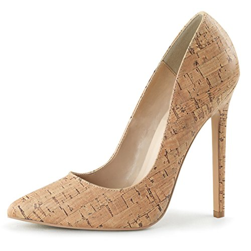 Womens Pointed Toe Pumps Cork Shoes Classic High Heel Stilettos 5 Inch Heels Size: ()