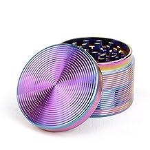 """4-Piece 2""""1/2 Herb Grinder Metal Spice Crusher Rainbow Screw thread"""