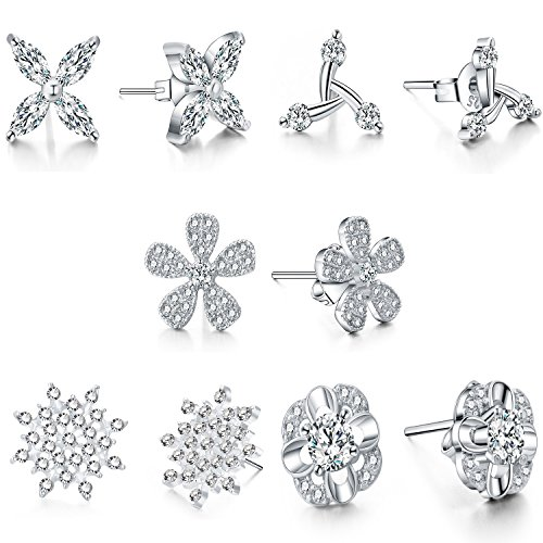 925 Silver Studs Crystal CZ Earrings Set of 5 Jewelry Set for Women Teens Little Girls Kids (Diy Costumes For Teenagers 2016)