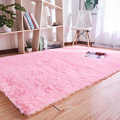 (Noahas Super Soft Modern Shag Area Rugs Fluffy Living Room Carpet Comfy Bedroom Home Decorate Floor Kids Playing Mat 4 Feet by 5.3 Feet,)