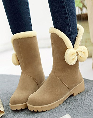 Aisun Womens Cute Warm Bow Round Toe Dress Slip On Flat Winter Mid Calf Snow Boots Shoes Camel TFndoEgIj