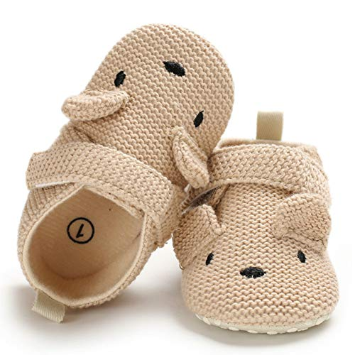 Sawimlgy Baby Boys Girls Adjustable Slippers Cartoon Moccasins Anti-Slip Soft Sole Warm Winter Crib Shoes (S:0-6 Months, C-Khaki)