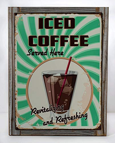 Liz66Ward Metal Sign Iced Coffee Served Here Metal Signs Vintage Retro Diner Decor Cafe Kitchen Dcor Metal Tin Sign Plate Wall Plaque Wall Art - Dcor Wall Plate
