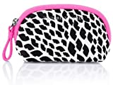 Victoria's Secret Mini Accessory Mini Bag with Zipper Pink with Black Lips Print