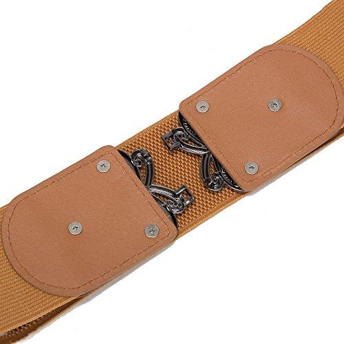 Viishow Women Metal Fashion Wide Leather Belt Elastic Buckle belt solid color